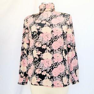 VTG Floral Long Sleeve High Collar Blouse Top
